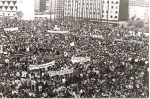 Foto de la Plaza de las Tres Culturas, Tlatelolco, el 2 de octubre de 1968.